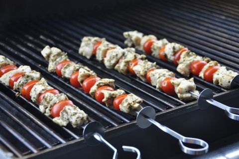 Super easy, healthy restaurant-quality Grilled Pesto Chicken and Tomato Kabobs recipe for summer grilling and entertaining!