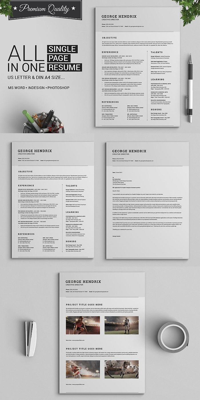 resume template resumetemplate cv cvtemplate coverletter indesign