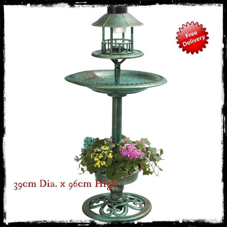 Garden Bird Feeder Solar Light Ornamental Feeder Station Wildbird Bath Hotel Uk #GardenBirdFeeder