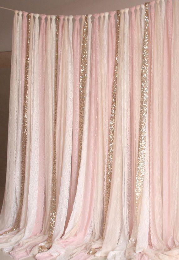 Blush Pink White Lace Fabric Gold Sparkle Photobooth Background Wedding Ceremony Stage, Birthday, Baby Shower Background Party Curtain Nursery
