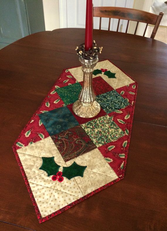 Quilted Holly Christmas Table Runner, Holiday Table Topper, red & green (reversible)