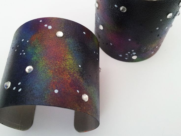 Galaxy Cuff - bracelet made with nail polish
