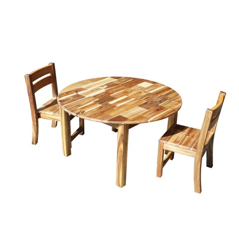 Hardwood Large Round Table and 2 Stackable Chairs