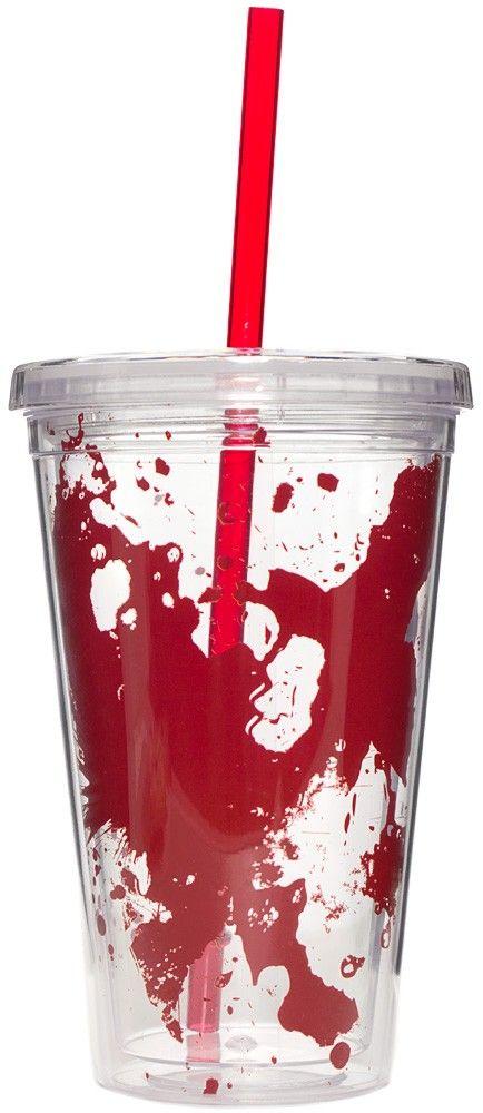 BLOOD SPLATTER TUMBLER Sip your morning iced latte in zombie battle ...