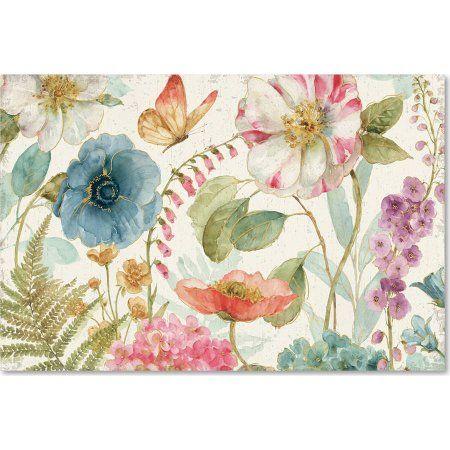 Trademark Fine Art Rainbow Seeds Flowers I on Wood Cream Canvas Art by Lisa Audit, Size: 22 x 32, Multicolor