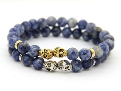 Skull Bracelet (2 colors) Gender:Unisex Material:Stone Metals Type:Zinc Alloy Style:Classic Item Type:Bracelets Length:18-20cm Contact Chain Type:Strenthable Size Beads:8mm Skull size About: 10mm