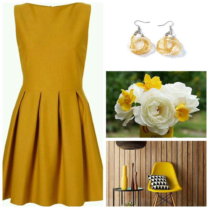 #chic #light #earrings with #mustard #beads tied into a #knot #handmade #modern #minimal #jewelry #unique #gift #inspiredbycolor #moodboard http://etsy.me/1FqMDyW