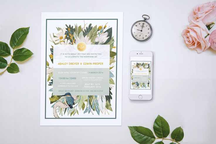 A South African Bushveld Inspired Save The Date featuring the South African Kingfisher Birds.