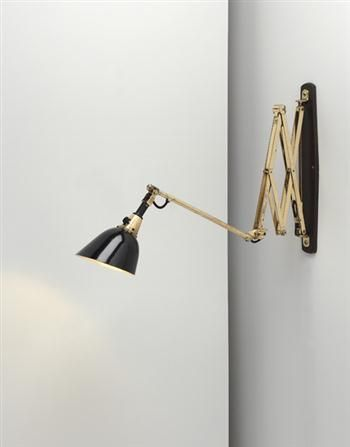 "CURT FISCHER Adjustable ""Midgard"" wall lamp, ca. 1925 Brass, enameled and nickel-plated tubular steel, Bakelite. Manufactured by Industriewerk Auma Ronneberger & Fischer, Germany. Branded ""Midgard D.R.G.M.D.R.P. Ausl. Pat."" 59 7/8 in. (152.1 cm) max. length"