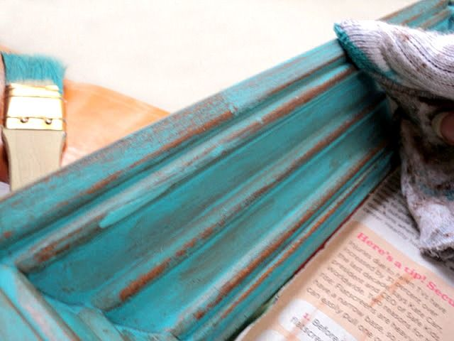 "DIY Distressed Frame Tutorial. Super inexpensive and no special tools required. One of the ""tools"" is a nail file to sand down the frame."