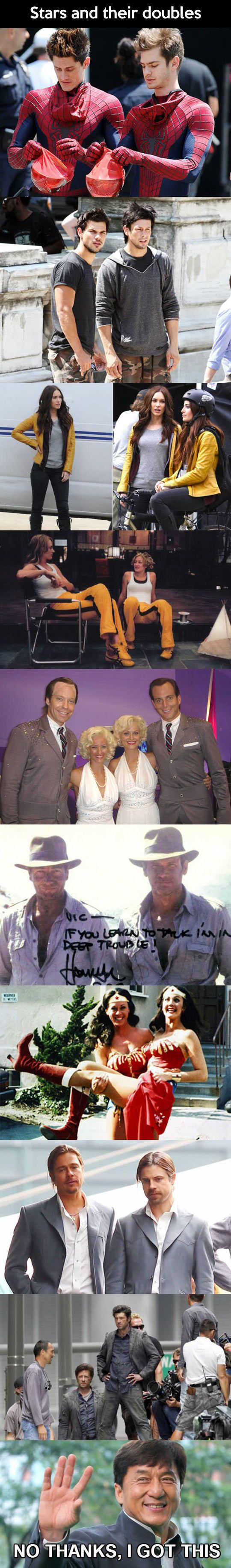 Here are a few movie stars and their stunt doubles.