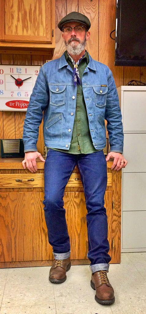 Brave Star 18.5oz selvage denim, Benny Gold work shirt, Civilianaire selvage denim trucker jacket, Red Wing 2233 work boots.