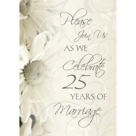 White Flowers 25th Wedding Anniversary Invitations Invitation