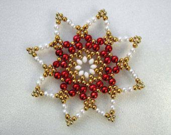 Perlenstern weiß 8,8 cm, beaded Ornament