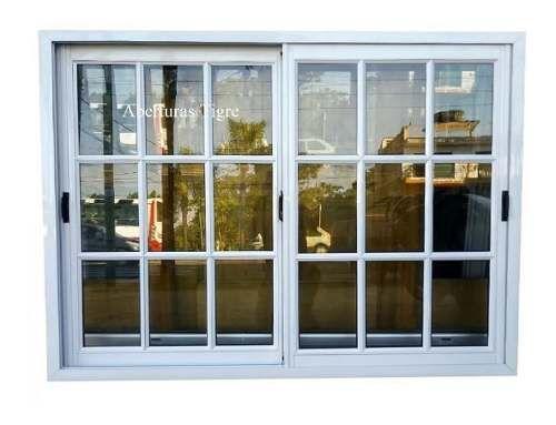 Ventanas Aluminio Blanco 150x110 Cm Vidrio Repartido 4mm 12 640 00 Ventanas De Aluminio Ventanas De Aluminio Modernas Ventanas Para Casas