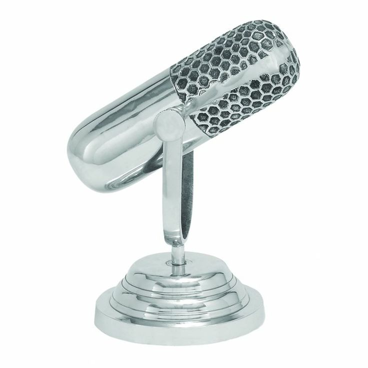 Trophy Microphone Sculpture in Silver