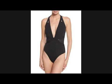 SALE!! JETS by Jessika Allen Parallels Crisscross Halter One-Piece Swimsuit