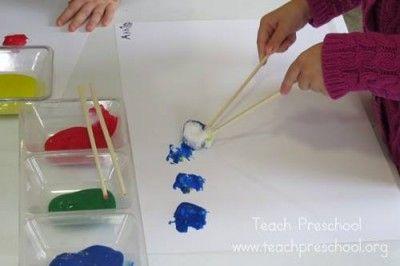 Chopstick painting by Teach Preschool. Great for fine motor skills
