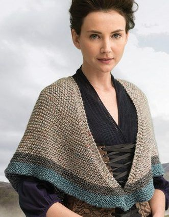 Knitting Pattern for Rent Shawl - This three color triangular shawl is part of kit by Lion Brand. Inspired by the shawl Claire wore in the Rent episode from the official Outlander kits from Lion Brand. Looks like it's garter stitch