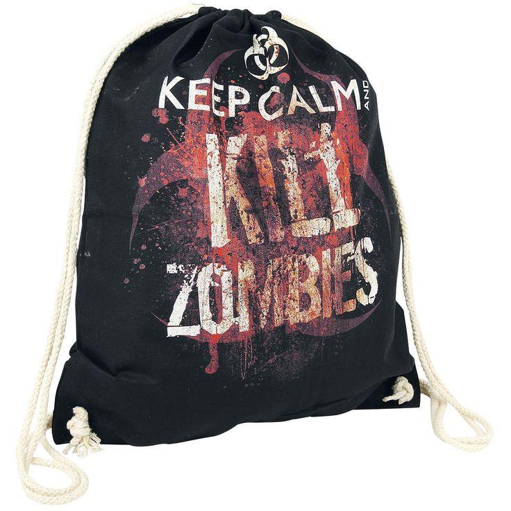 """Le sac de gym noir """"Keep Calm And Kill Zombies"""" présente, en plus du slogan et du logo """"Keep Calm"""", des éclaboussures sanglantes imprimées. Dans ce sac de 44 cm de long et 36 cm de large, vous pouvez ranger tout ce qu'il vous faut pour une apocalypse zombie."""