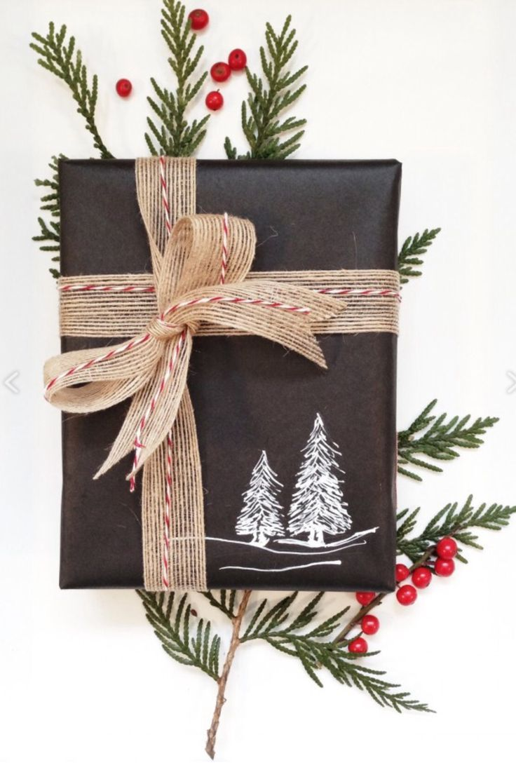 Rustic Christmas gift wrap idea - plain black wrapping paper with hand  stamped holiday image,