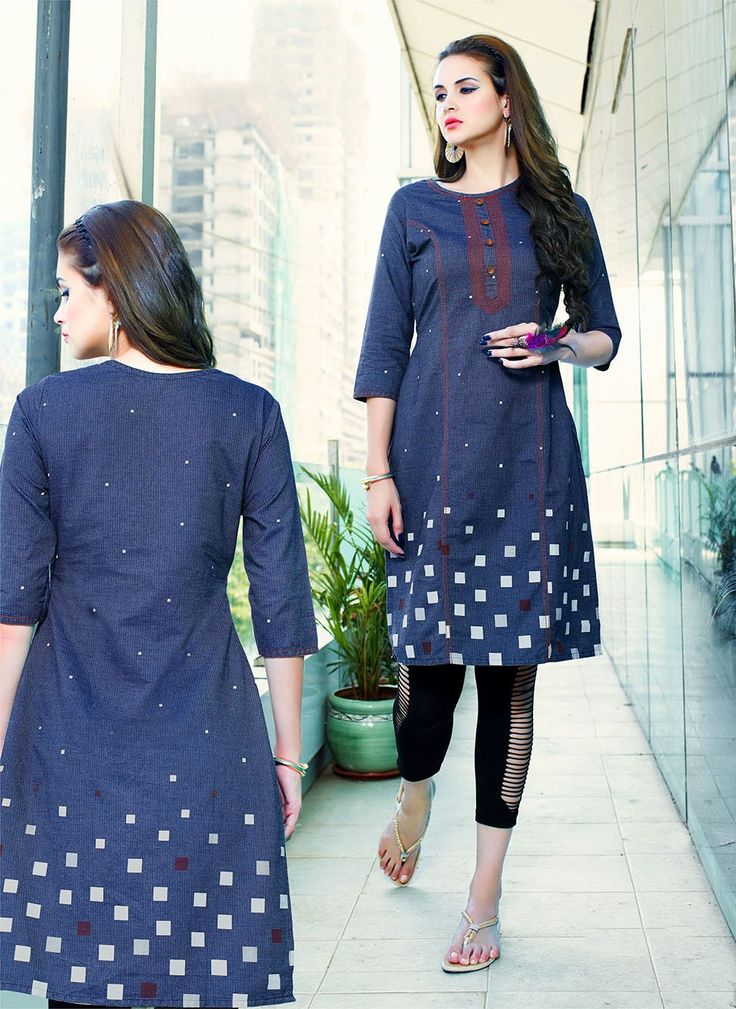 Blue denim fashion stylish kurti