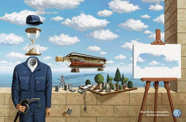 Volkswagen (2008) // L'influence des tableaux de Magritte sur la publicité en 35 exemples - VivelaPub, le blog d'analyse des tendances publicitaires