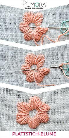 Blumen Sticken: Plattstich Blumen