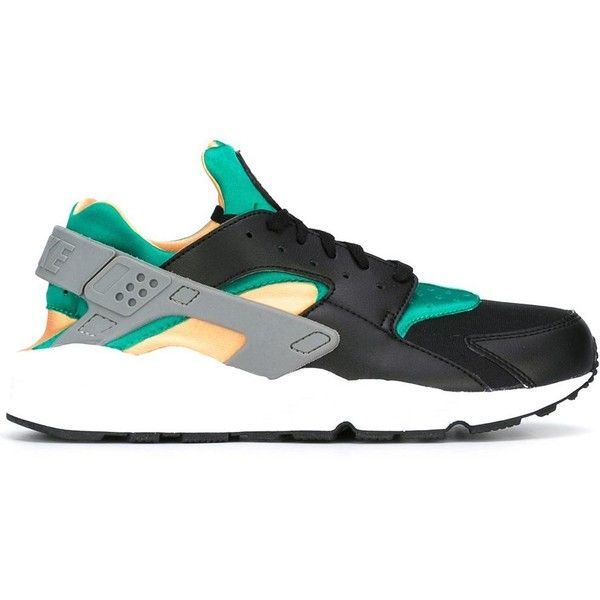 Nike 'Air Huarache Run' sneakers ($180) ❤ liked on Polyvore featuring men's fashion, men's shoes, men's sneakers, black, mens leather lace up shoes, mens lace up shoes, nike mens shoes, mens running sneakers and mens black sneakers