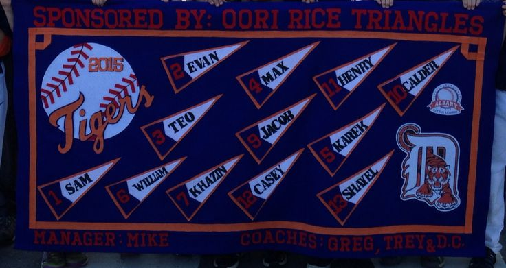 Little league Baseball Team Banner Go Tigers