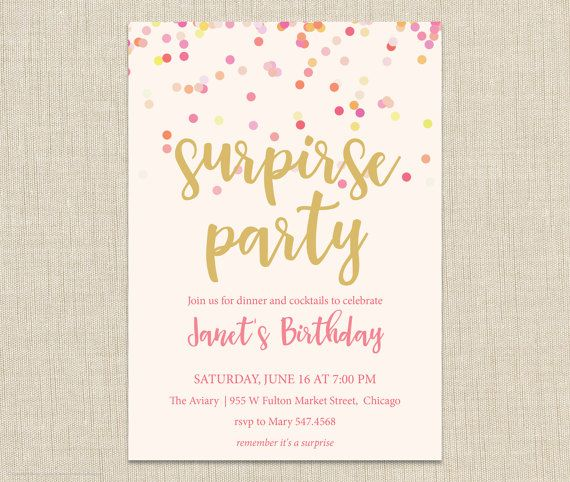 17 Best Ideas About Surprise Birthday Invitations On