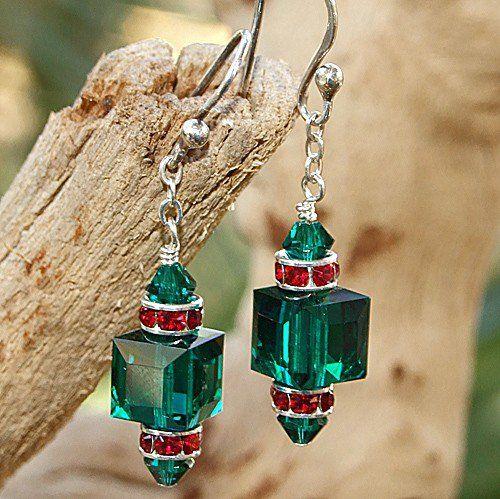 Swarovski Crystal Christmas Earrings Handmade Emerald Siam Green