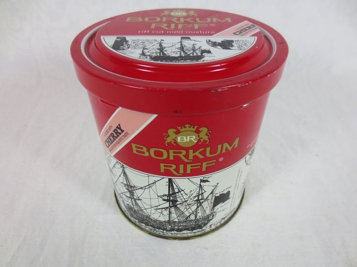 "Vintage BORKUM RIFF TOBACCO TIN CHERRY LIQEUR Flavored ~ early Sweden manf ~4.5"""
