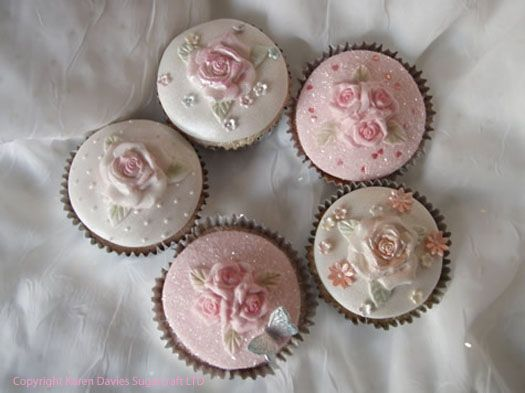 vintage pastel rose cupcakes - love the idea of adding pearls...mmmmm