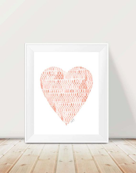 Subtle shades of coral and peach form an inspirational heart painting. Created from my original stamped watercolor painting inspired by lace