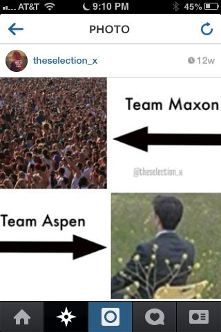 I were Team Maxon since their first met❤. Oh, and I hate Aspen so, so much! Everytime America is together with Aspen I stop to read and hit my pillow.