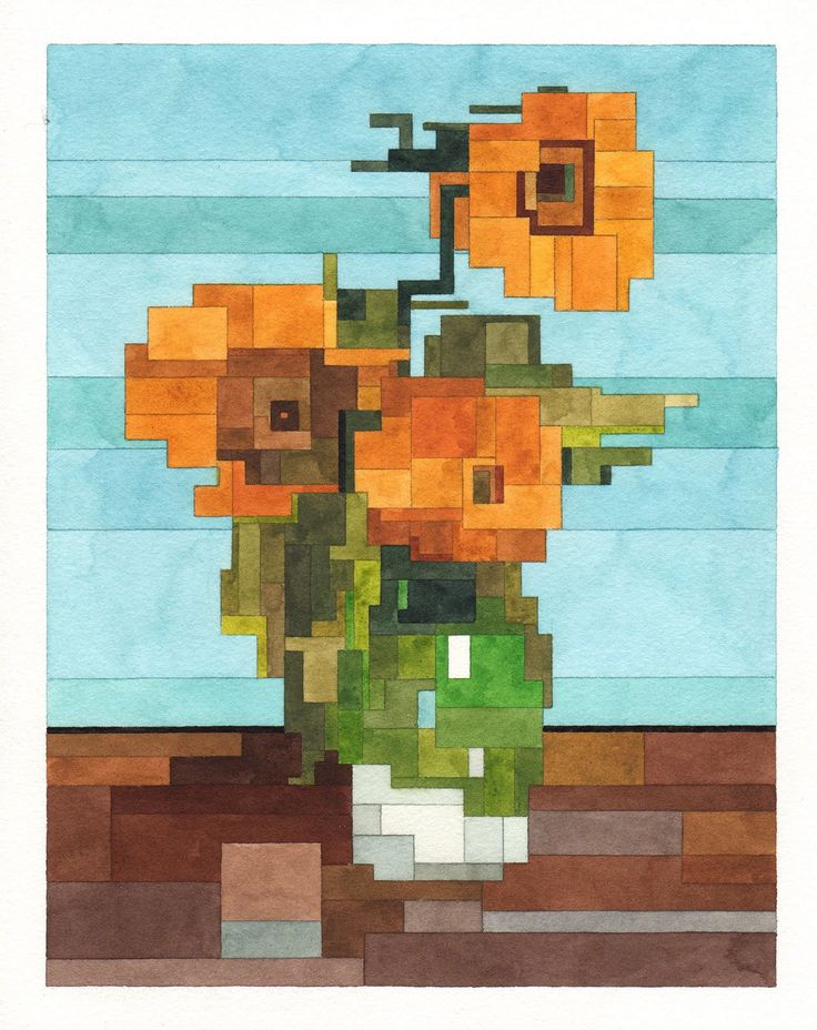 Three Sunflowers in a Vase, Art History 101 series by Adam Lister.(Original Painting by Vincent van Gogh, 1888).