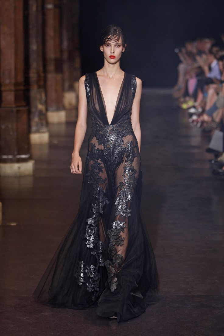 Floor length V-neckline couture gown