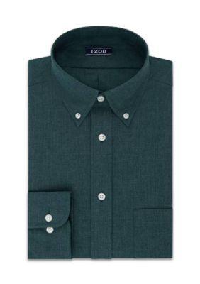 Izod Men's Izod Twill Big & Tall Dress Shirt - Green - 18.5 37/38