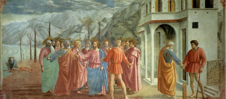 Masaccio 'Payment of the Tribute Money' in three separate narratives, not one long continuous. Fresco, 1426-7.