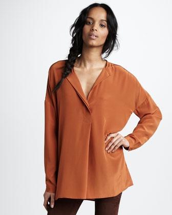 Vince - Oversized Silk Shirt, Gingersnap - Neiman Marcus