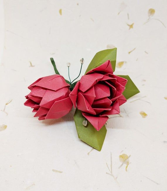 Origami Boutonniere Paper Flower Rose Boutonniere Origami Etsy In 2020 Origami Rose Origami Bouquet Origami Rose Flower