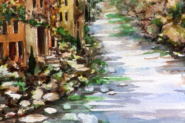 Lagrasse (18) - Phong Trinh Watercolor. More Fine Art Print Available at http://www.artpal.com/phongtrinh/