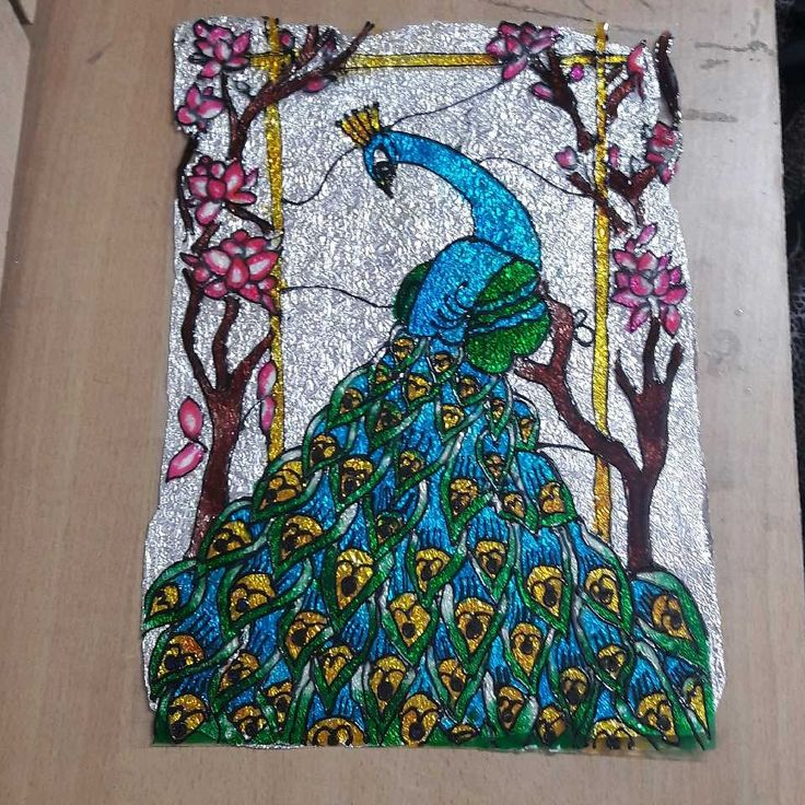 A colourful PEACOCK glass painting.... a perfect drawing for beginners to begin with!!!