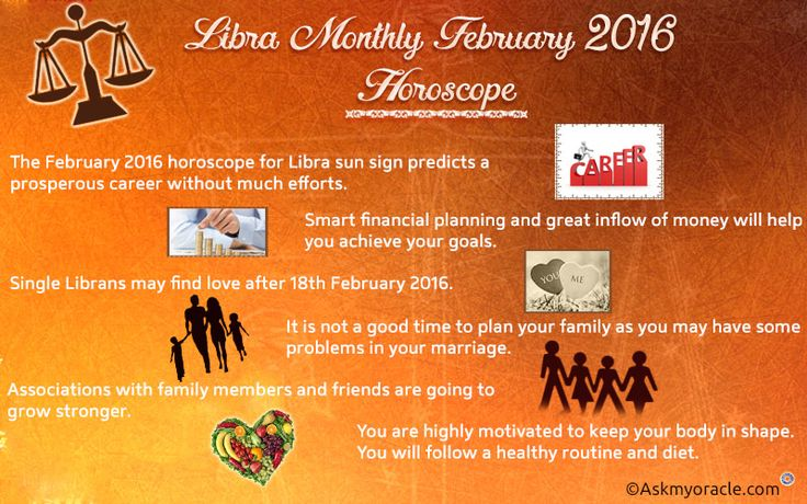 Free monthly February 2016 horoscope for Libra zodiac sign is the time when you will be occupied with issues related with your family.