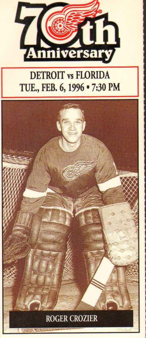 Roger Allan Crozier (March 16, 1942, Bracebridge, Canada – January 11, 1996) was a Canadian professional hockey goaltender who played fourteen seasons in the National Hockey League (NHL) for the Detroit Red Wings, Buffalo Sabres and Washington Capitals. During his career Crozier was named to the NHL First All-Star Team once, won the Calder Memorial Trophy and was the first player ever to win the Conn Smythe Trophy while playing for the losing team in the Stanley Cup Finals.