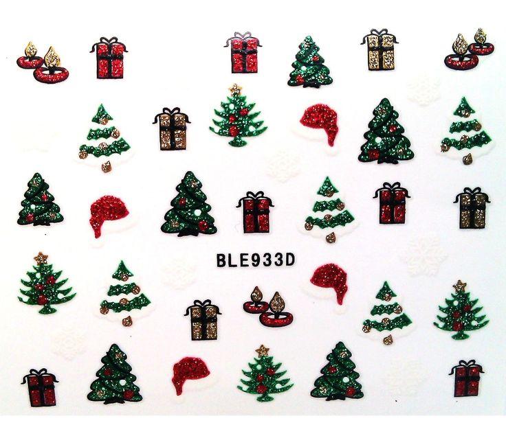 Charlies Nail Art - Glitter Xmas tree nail stickers, £1.00 (http://www.charliesnailart.co.uk/glitter-xmas-tree-nail-stickers/)