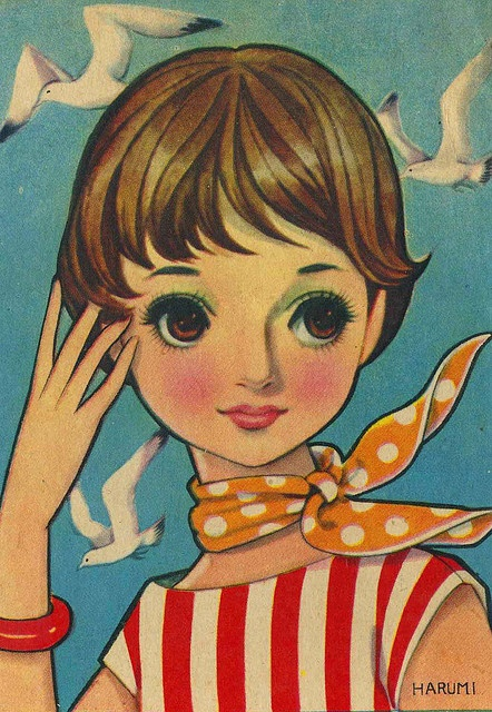 vintage japanese postcard, early 1960's