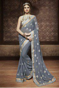 Georgette Party Wear Saree In Grey Colour