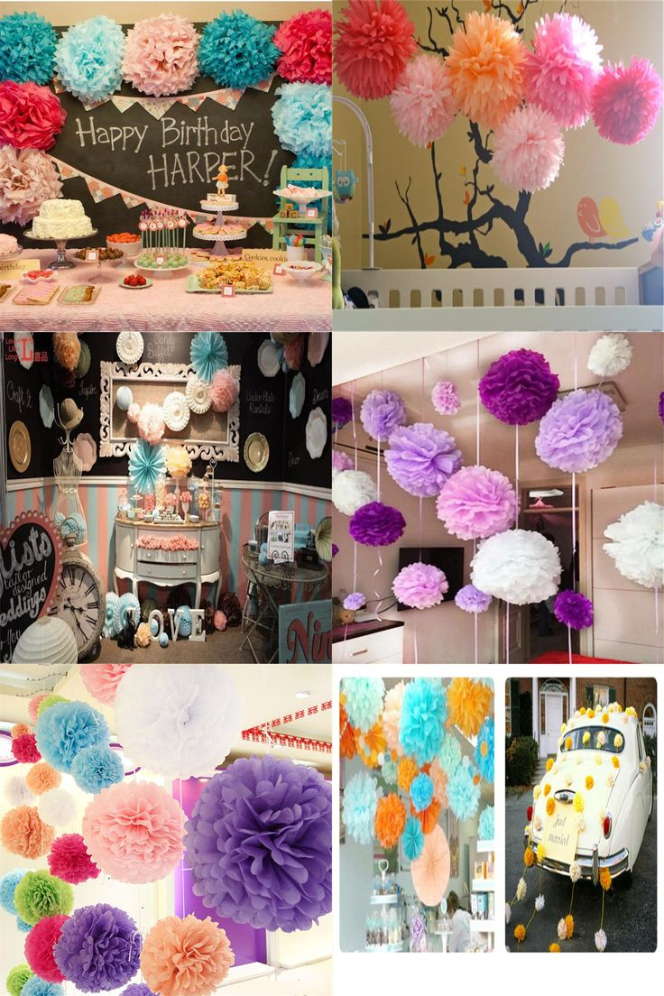 [Visit to Buy] 10cm=4 inch Tissue Paper Flowers pom poms balls lanterns Party Decor For Wedding Decoration multi color option Wholesale #Advertisement
